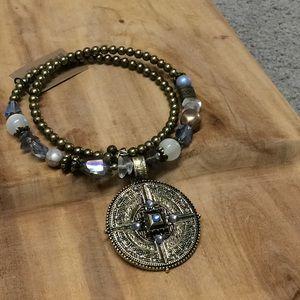 Brass tribal boho statement necklace new